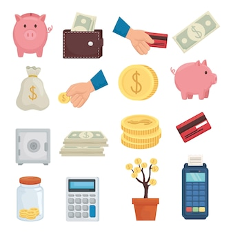 Money collection of financial business banking commerce and market theme vector illustration