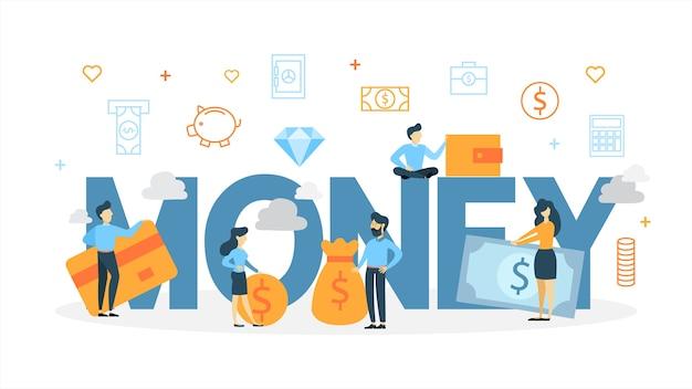 Иллюстрация концепции денег. представление о финансах и прибыли.