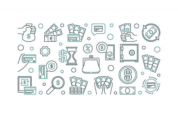 Money concept outline horizontal icon illustration