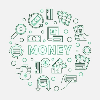 Money concept round illustration made outline icons