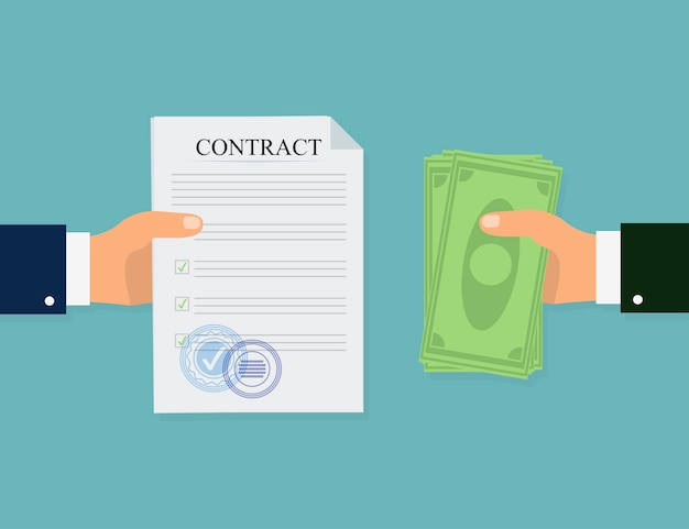 Money contract in flat style