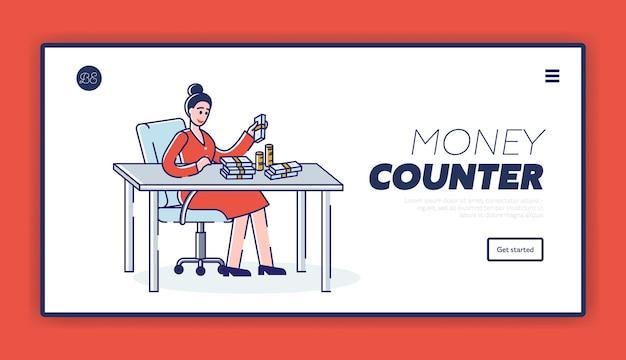 회사 또는 비즈니스 이익으로 여자 수 지폐와 동전으로 돈 계산 디자인