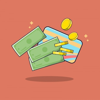 Money and credit card finance illustration