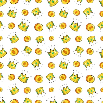 Money and crowns seamless pattern. fashion background in retro comic style.  illustration
