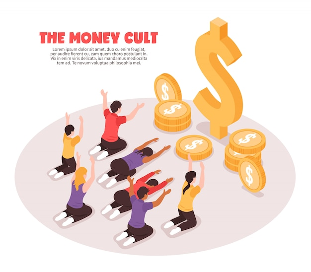 Money cult isometric background