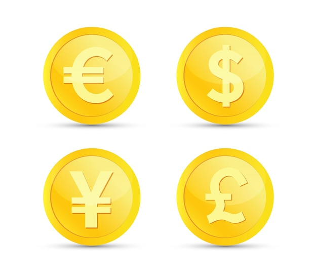 Money and currency set gold coin euro dollar yen pound