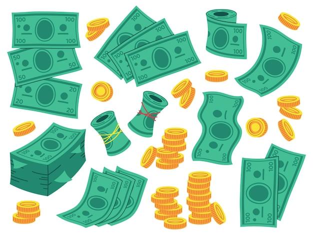 Деньги доллар банкноты наличные мультфильм набор