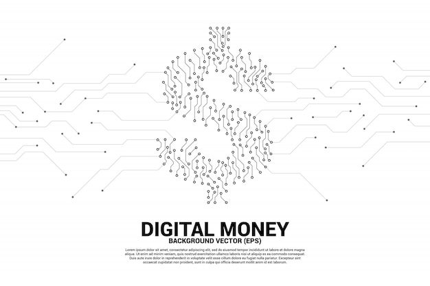 Money dollar icon from dot connect line circuit board