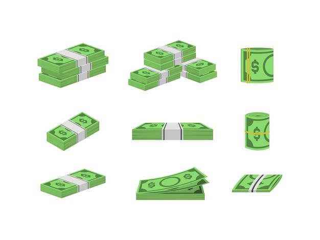 돈 달러 지폐 번들 포장을 설정합니다.