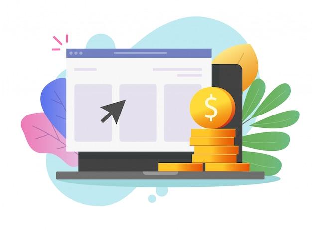 お金は、ウェブインターネットテクノロジーやデジタルファイナンスの利益のオンラインコンセプトとラップトップコンピューターフラット漫画イラストの現金収入を稼ぐ