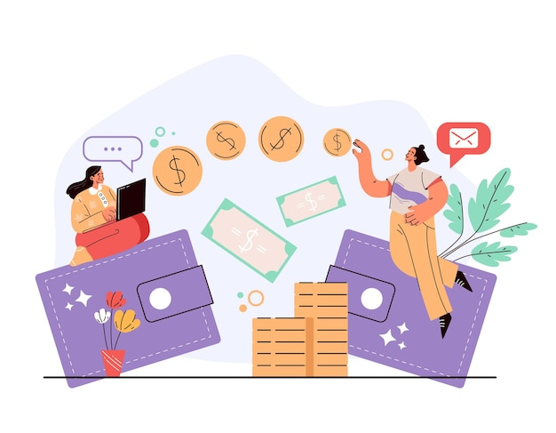 Money electronic digital online internet transfer from wallet to wallet concept