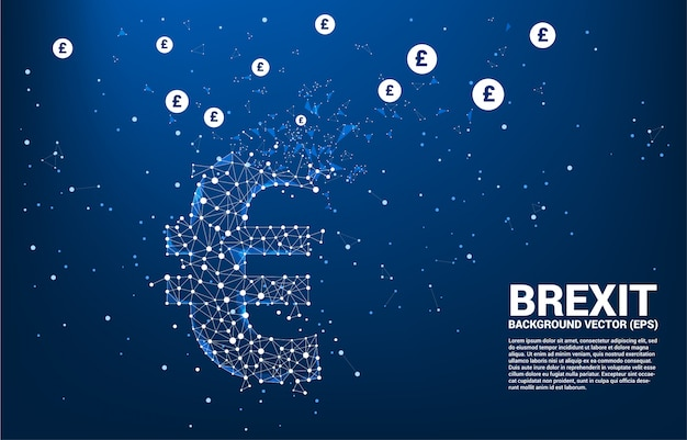 Money euro currency icon from polygon dot connect line broken to pound sterling  background template