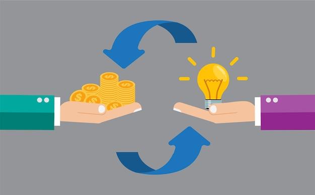 Money exchange idea bulb