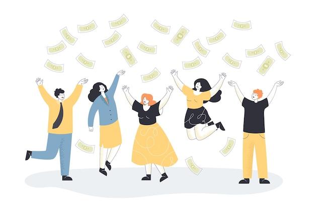 행복 한 비즈니스 사람들이 평면 그림에 떨어지는 돈