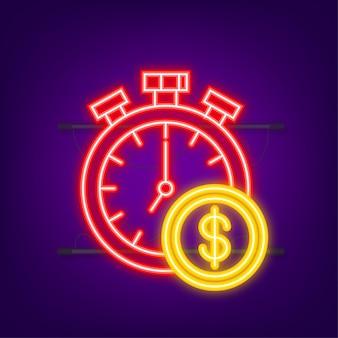 돈, 금융 및 지불. 개요 웹 아이콘을 설정합니다. 네온 스타일. 벡터 일러스트 레이 션.