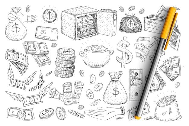 Money and finance doodle set