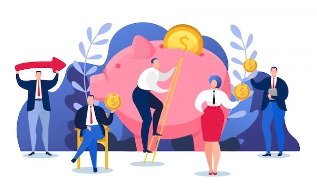 Деньги финансируют экономику, вложение богатства в копилку иллюстрации. финансовая концепция банковского дела наличными деньгами. люди откладывают на счету валютный депозит и долларовую прибыль.
