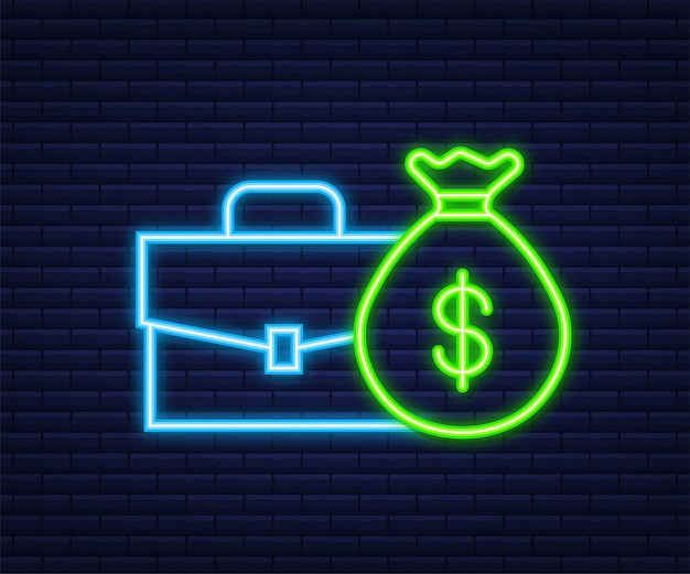 Money, finance and payments. set outline web icon. neon style. vector illustration.
