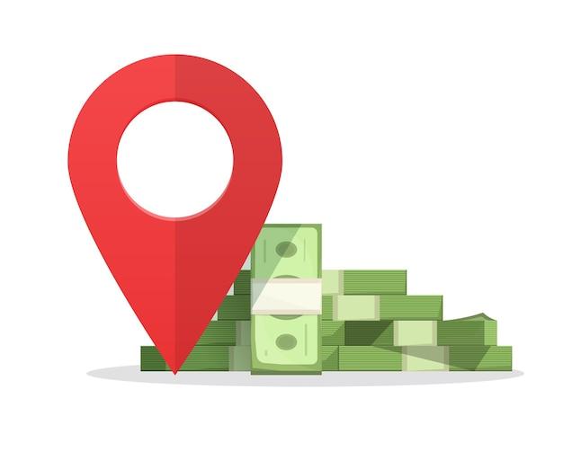 Маркер указателя места финансирования денег, кассир банкомат или знак места назначения банка
