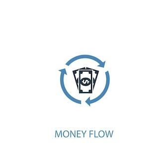 お金の流れのコンセプト2色のアイコン。シンプルな青い要素のイラスト。お金の流れの概念のシンボルデザイン。 webおよびモバイルui / uxに使用できます