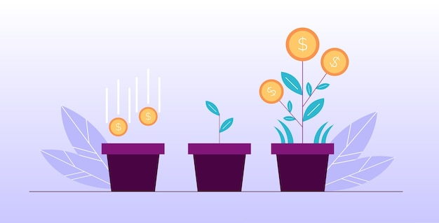 Money flower investment deposit economic market growth. financial success concept. profitable business. symbol of wealth. coin seed falling to soil in pot, growing sprout blooming dollar plant design
