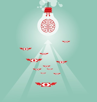 Money flying to light bulb - business concept