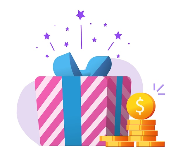 Money gift as charity donation, bonus reward as cashback prize, jackpot lucky win present