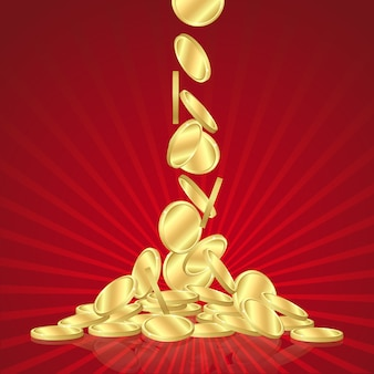 Money golden rain, falling gold coins on red background.
