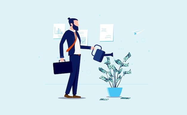 Бизнесмен роста денег поливает растение наличными Premium векторы
