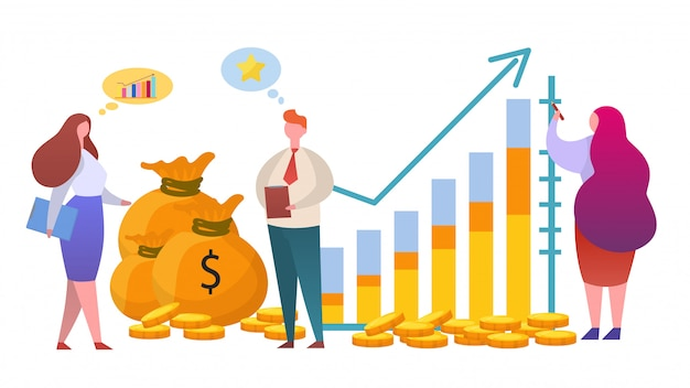 Money growth diagram,  illustration. finance investment and strategy for profit, manager man woman character work.