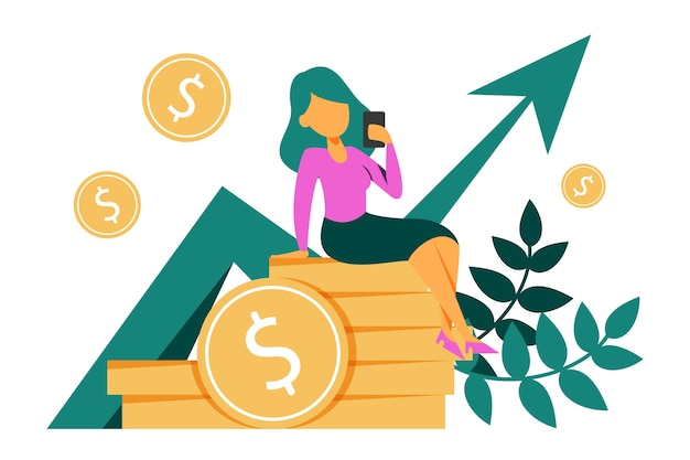 Money growth isolated. woman on the golden coin stack