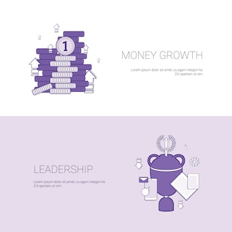 Money growth and leadership business success template web banner with copy space