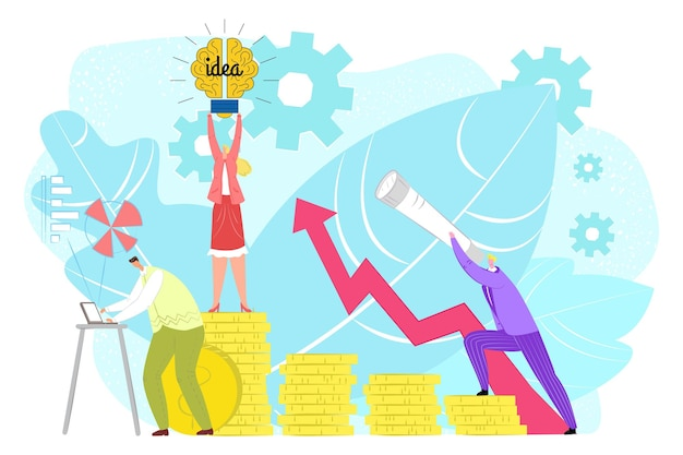 Money growth with business idea success, vector illustration. flat people man woman character stand at finance investment, profit strategy design. financial cash coin with graph, person with laptop.