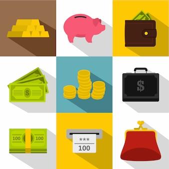 Money icon set, flat style