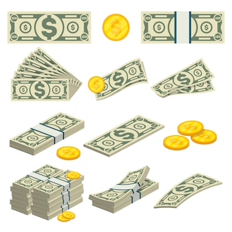 Money icons set in cartoon style