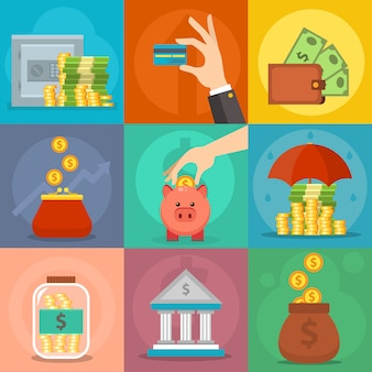 Money icons set vector.