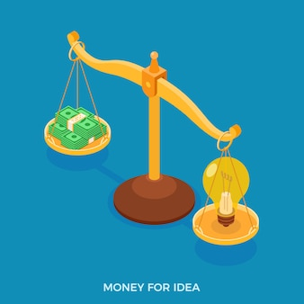 Money for idea concept with scales