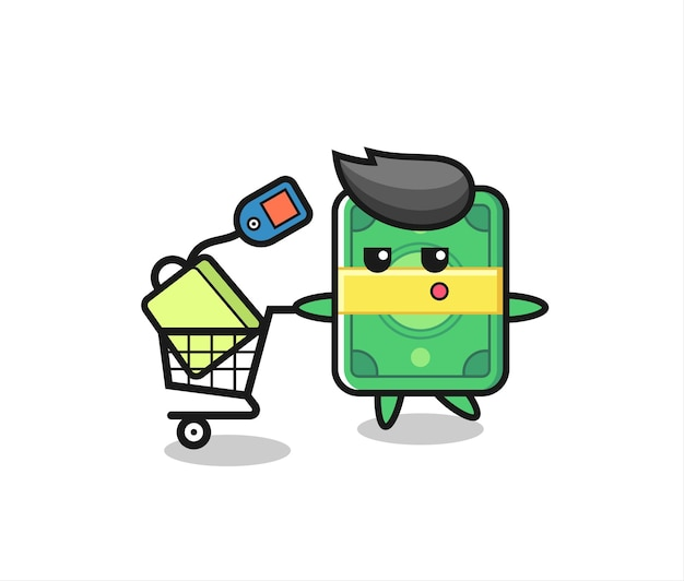 Money illustration cartoon with a shopping cart , cute style design for t shirt, sticker, logo element