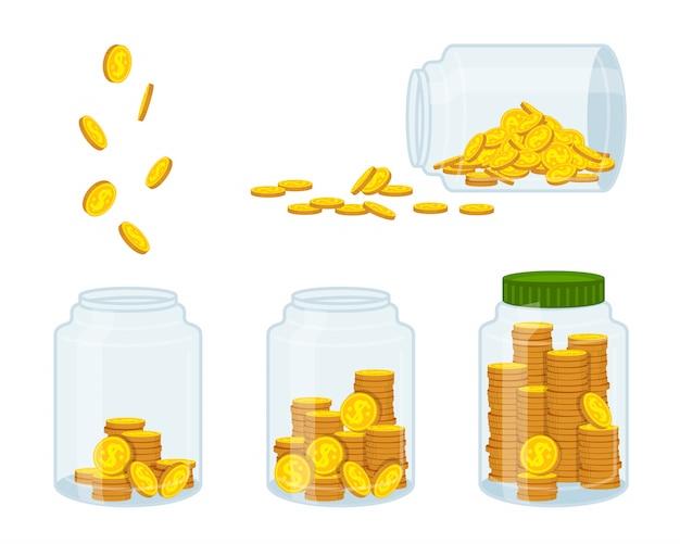 Деньги в банке, золотая монета. плоский мультфильм знак валюты летать, сохранение, сохранение. концепция финансов и банков, инвестиций