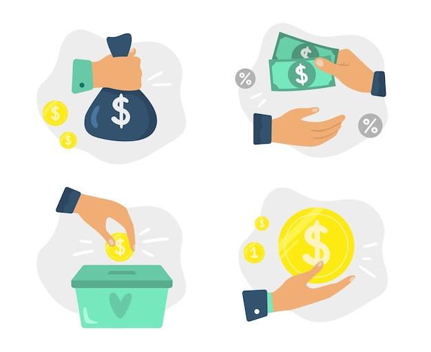 手にお金。投資の資金調達、財団への寄付、および経済的節約。