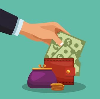 Money in purse cartoon vector illustration graphic design