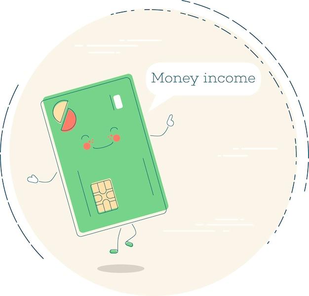 라인 아트 스타일에 돈 소득 유행 개념입니다. 은행 및 금융, 전자 상거래 서비스 기호, 비즈니스 기술, 소매 및 쇼핑 기호. 신용 카드 재미있는 캐릭터 일러스트