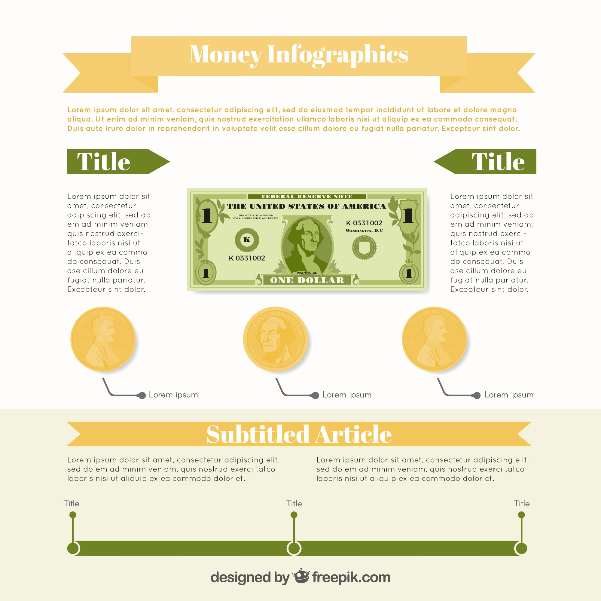 Money infographic template with green and brown details