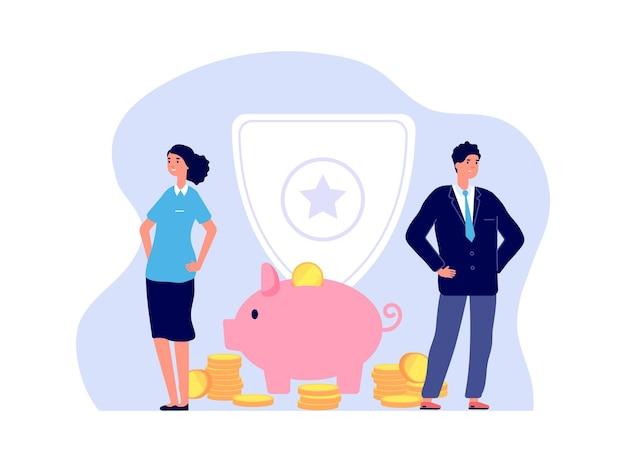Страхование денег. банковские менеджеры, мужчина женщина и копилка с монетами. безопасность бизнеса, иллюстрация безопасности инвестиций. вектор защиты жизни и благополучия. страхование, финансы и банковское дело, фонд доходов