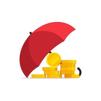 白い背景の上の傘の図の下でお金の保険の保護