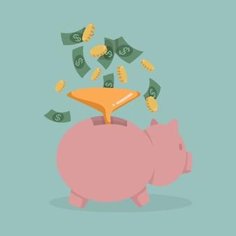 ピンクの貯金箱にお金