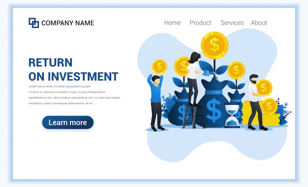 Money investing concept with people grow coins, profit income, royalties from investments.