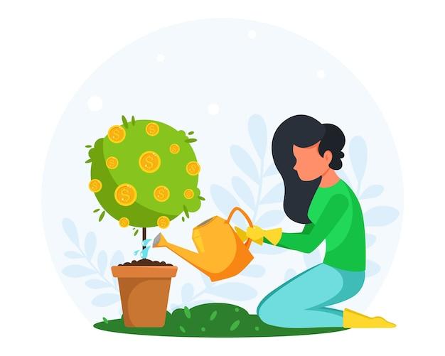 Концепция вложения денег. женщина поливает и выращивает денежное дерево. иллюстрация в плоском стиле.