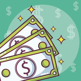 マネー投資と貯蓄の漫画のコンセプト
