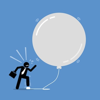 Money investment bubble.  artwork depicts a happy businessman keep inflating a bubble balloon to make it bigger and bigger.